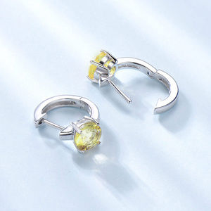 Penfine Jewelry - Natural Peridot Silver Clip Earrings For Women